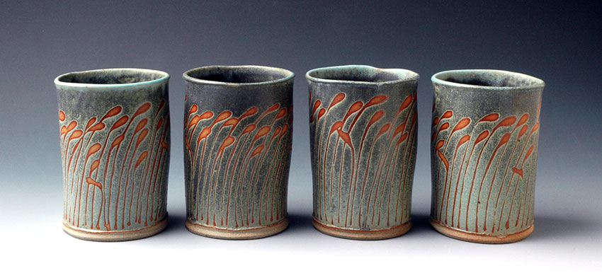 Beakers with Grass Pattern