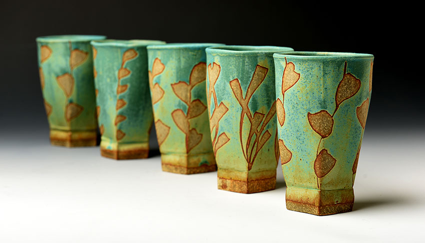 Cups with Turquoise Resist