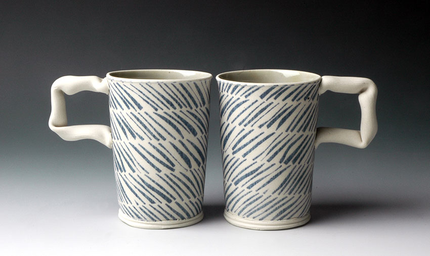 Mugs with Blue Hatch Pattern