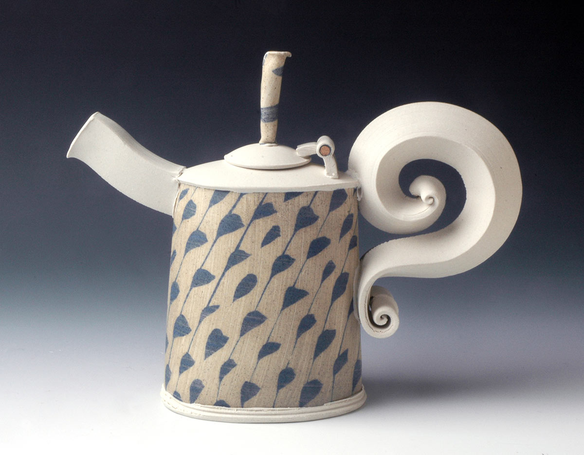 Tan and Blue Teapot