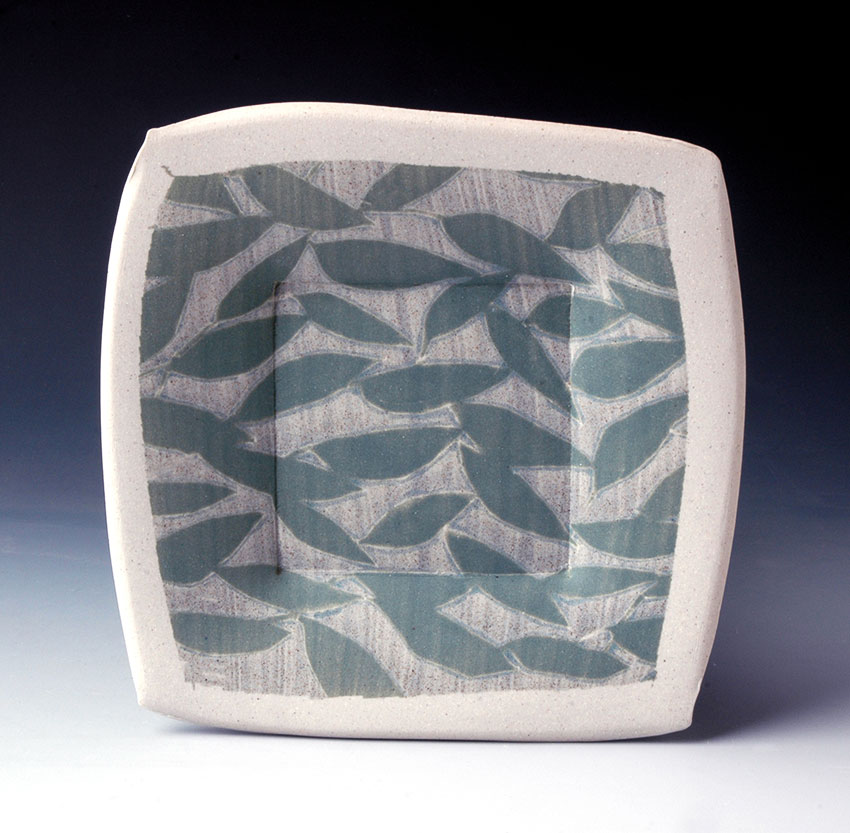 Plate with Leaf Pattern and Speckled Glaze